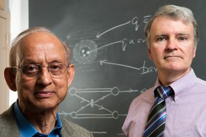 <p>Munir Islam, left, research professor of physics, and Richard Luddy, research professor in the physics department. Photo by Frank Dahlmeyer</p>