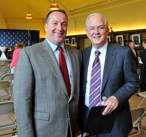 <p>James Leahy, CAE, executive director of the Connecticut Daily Newspapers Association, left, with President Michael Hogan before the gubernatorial debates held at the William H. Starr Reading Room at the Law School.</p>