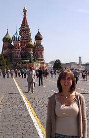 <p>Helen Zincavage stands in Moscow's Red Square, in front of St. Basil's Cathedral.</p>