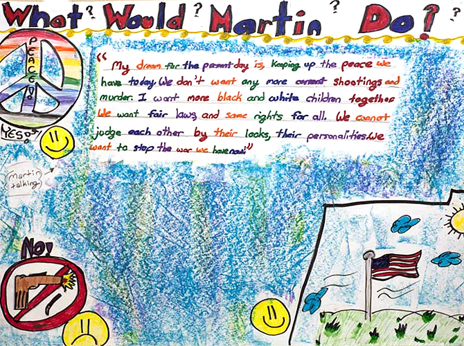 <p>Submissions to a poster contest for the UConn Martin Luther King Jr. Day. Artwork by Hope Smith, American School for the Deaf, grade 6.</p>
