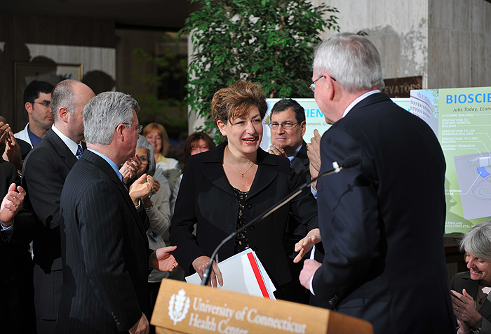 <p>President designate Susan Herbst is introduced at a press conference held at the UConn Health Center to announce Bioscience Connecticut on May 17, 2011. Photo by Peter Morenus</p>