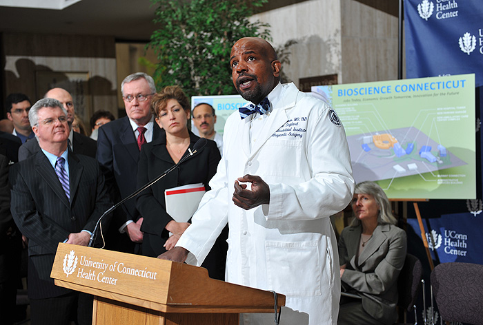 <p>Cato Laurencin, dean of the school of medicine, speaks at a press conference held at the UConn Health Center to announce Bioscience Connecticut on May 17, 2011. Photo by Peter Morenus</p>