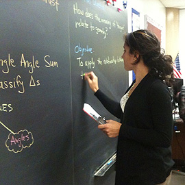 Vanessa Rodriguez prepares for her math class at Bulkeley High School.