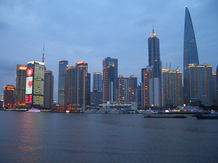 The Shanghai skyline at dusk, taken by Dayton Horvath, one of three UConn students attending the Universitas 21 undergraduate research conference in Shanghai, China this summer.
