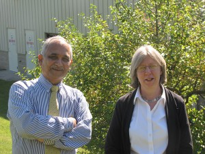 Prabhakar Singh, director of UConn's Center for Clean Energy and Engineering, and Tricia Bergman, associate director, at the Depot campus.