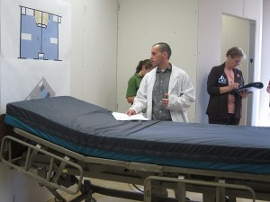 Health Center nursing and medical staff are being asked to give feedback about patient room design for the new hospital tower. (Jennifer Beardsley/UConn Health Center Photo)