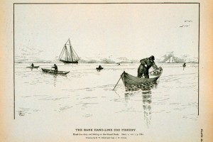 Hand-line dory cod fishing on the Grand Bank. (Drawing by H.W. Elliott and Capt. J.W. Collins. Image from the NOAA National Marine Fisheries Service, Historic Fisheries Collection.)