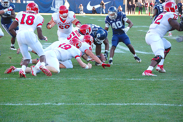 Senior defensive tackle Kendall Reyes'12 (CLAS) picked up a fumble and ran 9 yards for a touchdown as part of the football team's 40-22 win over Rutgers on Sunday at Rentschler Field, on Senior Day, the final home game of the season.The Huskies play Saturday at Cincinnati.
