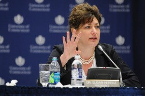 President Susan Herbst speaks on the proposed tuition increase during the Board of Trustees meeting at Rome Ballroom. (Peter Morenus/UConn Photo)