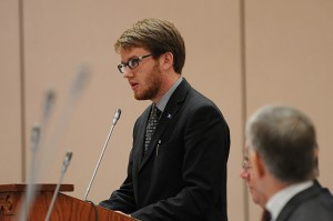Samuel Tracy, president of the Undergraduate Student Government, speaks on the proposed tuition increase. (Peter Morenus/UConn Photo)