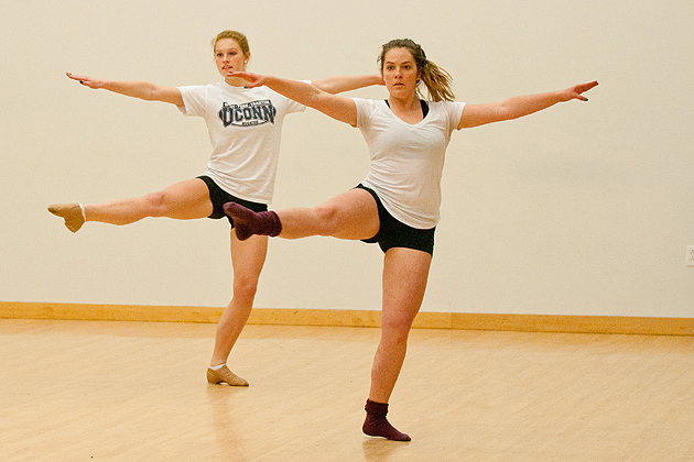 Casey Jessop and other members of the UConn dance team practice in the Student Union on Nov. 29, 2011. (Max Sinton for UConn)
