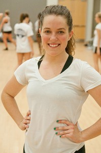 Casey Jessop, an Australian exchange student and member of the UConn dance team, poses for a portrait in the Student Union on Nov. 29, 2011. (Max Sinton for UConn)