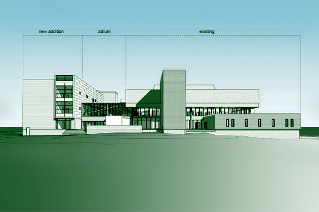 Architect's rendering of planned changes to the Bousfield psychology complex.