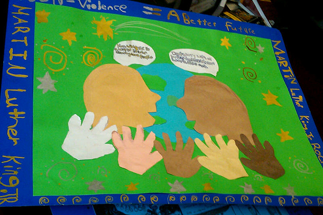 Connecticut school children in grades 4 to 6 were invited to submit posters reflecting the legacy of Dr. King. Pictured here is the submission of Maile and Xariya, 5th graders at the Jack Jackter Intermediate School in Colchester.