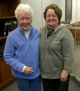 Mary Cullen Yuhas Anger (left) visited the Thomas J. Dodd Research Center with her niece, Kay Cullen, to look at the SNET records in the archives. (Laura Katz Smith/UConn Photo))