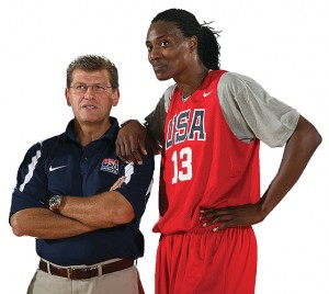 WASHINGTON -Geno Auriemma With Sylvia Fowles of the WNBA Chicago Sky, during a training session. (Photo by Ned Dishman/NBAE via Getty Images)