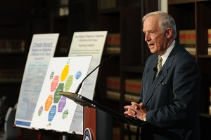 Gene Likens, Board of Trustees Distinguished Research Professor, said ethical behavior and social responsibility are important components of a sustainable environment. (Peter Morenus/UConn Photo)
