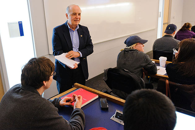 Steven Wisensale, professor of human development and family studies lectures on baseball and society at the Classroom Building on March 29, 2012. (Peter Morenus/UConn Photo)