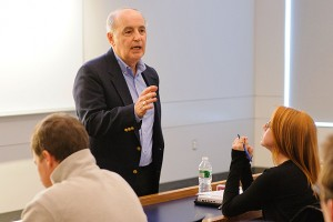 Professor Wisensale gives a lecture at the Classroom Building. (Peter Morenus/UConn Photo)