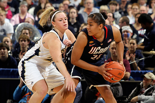Kaleena Mosqueda-Lewis '15 (CLAS) led all scorers in the championship game, with 19 points and 8 rebounds, and was named the Most Outstanding Player of the 2012 Big East Women's Basketball Tournament. (Bob Stowell '70 (CLAS)/Big East)