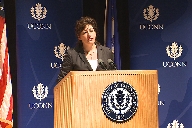 President Susan Herbst speaking at the first State of the University address on April 5, 2012.