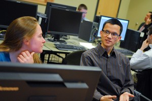 Brittany DePoi, left, and Nhat-Tan Duong are among the students selected as Cigna interns. (Ariel Dowski '14 (CLAS)/UConn Photo)