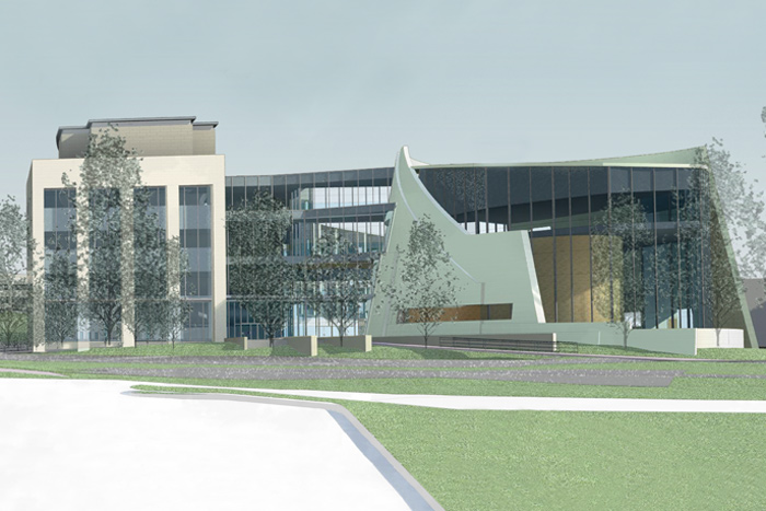 An architectural rendering of the Jackson Laboratory for Genomic Medicine, planned for construction at the Health Center's Farmington campus.