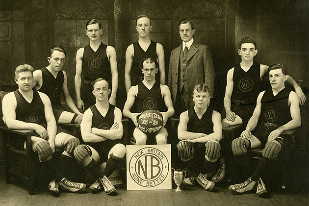 New Britain Machine Co. Basketball team, 1920-1921. (Archives & Special Collections, Thomas J. Dodd Research Center)