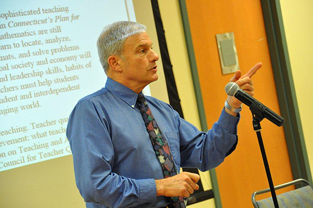Michael Marotto, lecturer in the Neag School of Education's Teacher Certification Program for College Graduates and a veteran public school teacher, says it's an exciting time to be a teacher. (Shawn Kornegay/UConn Photo)