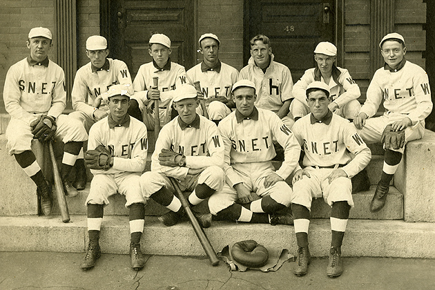 Baseball team of the Southern New England Telephone Co., Waterbury office, 1909. (Archives & Special Collections, Thomas J. Dodd Research Center)
