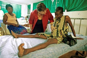Bette Gebrian, RN, PhD, in the maternity ward at a government hospital in Haiti.