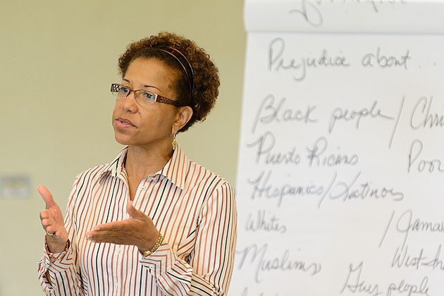 Salome Raheim, dean of social work, speaks to students during a Kingian nonviolence youth academy held at Weaver High School in Hartford on July 23, 2012. (Peter Morenus/UConn Photo)