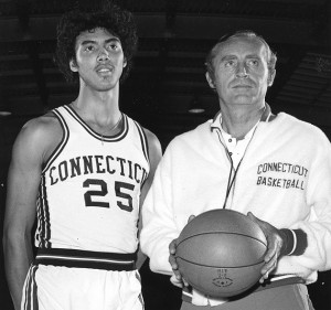 "UConn Men's Basketball Coach Donald ""Dee"" Rowe poses with Husky basketball star Tony Hanson, one of the program's first great four-year players."