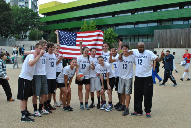 Students in the UConn in London Summer Olympics program took on a team from Westminster Academy during their sports day. (Holly Hennick/UConn Photo)