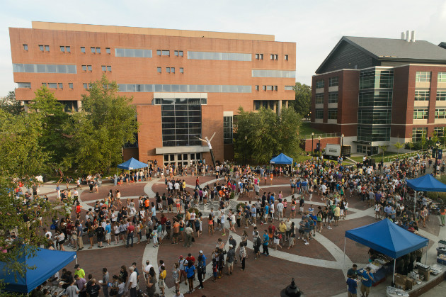 Fairfield Way was filled with new students, their families, faculty, and staff following Convocation on Friday. (Peter Morenus/UConn Photo)