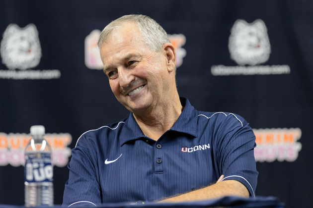Jim Calhoun smiles at a press conference held at Gampel Pavilion to announce his retirement and the appointment of Kevin Ollie as head men's basketball coach on Sept. 13, 2012. (Peter Morenus/UConn Photo)