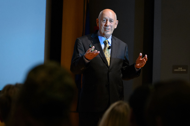Bill Rasmussen spoke about the role of leadership and entrepreneurship in developing the world's first 24-hour sports television network. His talk was hosted by UConn's Leadership Legacy Experience. (Peter Morenus/UConn Photo)