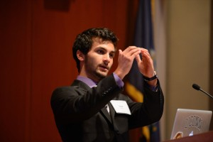 Lior Trestman '15 (ENG) , a biomedical engineering major, made a presentation on his research on Sept. 20, 2012. (Peter Morenus/UConn Photo)