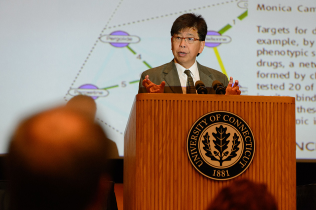 Edison Liu, president and chief executive officer, The Jackson Laboratory speaks at the UConn/JAX Genomics Symposium, held at the Student Union Theater at the University of Connecticut on Sept. 6, 2012. (Peter Morenus/UConn Photo)
