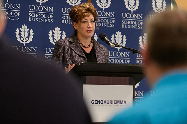 President Susan Herbst noted that the leadership conference will offer an opportunity to connect UConn's business school faculty, some of the University's most outstanding alumni, and a range of leaders from across various industries and communities. (Peter Morenus/UConn Photo)