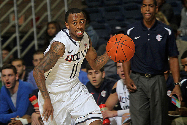The youth of this year's Huskies is one of the challenges Ollie faces. Sophomore Ryan Boatright is among the most experienced of the returning players. (Bob Stowell '70 (CLAS) for UConn)