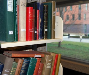 Shelves of books in Homer Babbidge Library. (Courtesy of University of Connecticut Libraries)