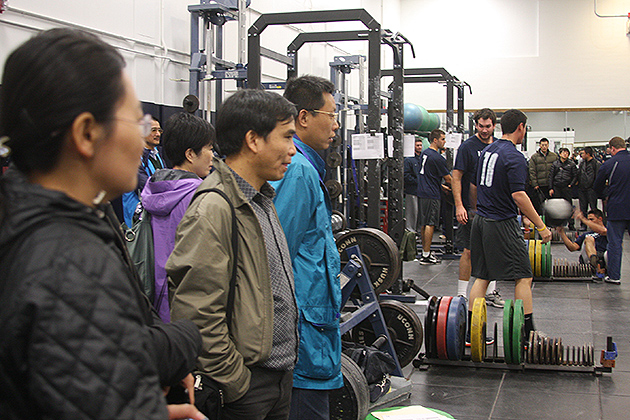 Top sports and exercise scientists from China attended lectures on the latest topics in sports science and exercise research and toured UConn's Human Performance Lab and other training and research facilities. (Shawn Kornegay/UConn Photo)