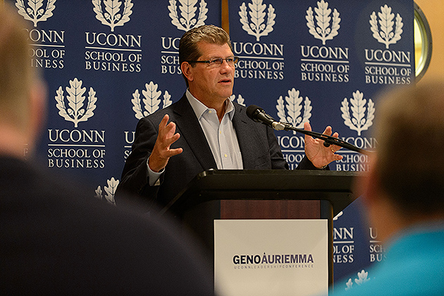 UConn Women's Basketball Head Coach Geno Auriemma announces a major new leadership conference to be held in April at a press conference held at the School of Business Building on Nov. 27, 2012. (Peter Morenus/UConn Photo)