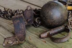 A ball and chain used to hold slaves, a reminder of Gullah history. (Photo courtesy of Mary Ellen Junda)