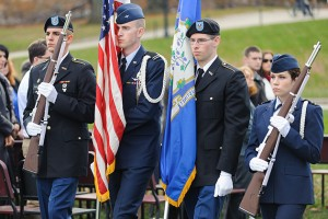 Members of the honor guard presented the American flag and the State of Connecticut  flag during Veterans Day ceremonies. (Max Sinton '15 (CLAS)/UConn Photo)