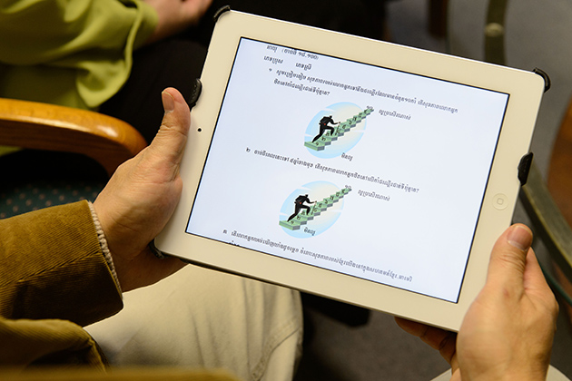 A view of an iPad with Khmer language questionaire at Khmer Health Advocates in West Hartford on Dec. 18, 2012. (Peter Morenus/UConn Photo)