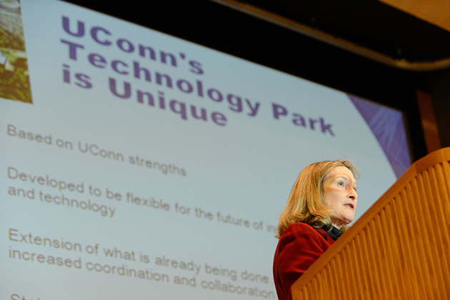 Mary Holz-Clause, vice president for economic development gives an update on the technology park at the Student Union Theater on Dec. 6, 2012. (Peter Morenus/UConn Photo)