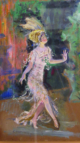 """The Dancer, by Everett Shinn (1909), oil on board, a gift of Charles and Marjorie Benton, is part of the exhibition """"Millionaires and Mechanics, Bootleggers and Flappers: Speaking of 'The Great Gatsby',"""" now on display at the William Benton Museum."""