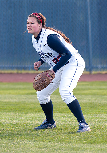 Outfielder Marissa Guches'13 (CLAS) hopes to end her senior year in the postseason. (Steve Slade'89 (SFA) for UConn)